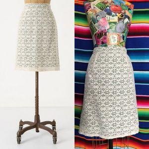 Anthro Edme Esylite Aine Lace Pencil Skirt Midi